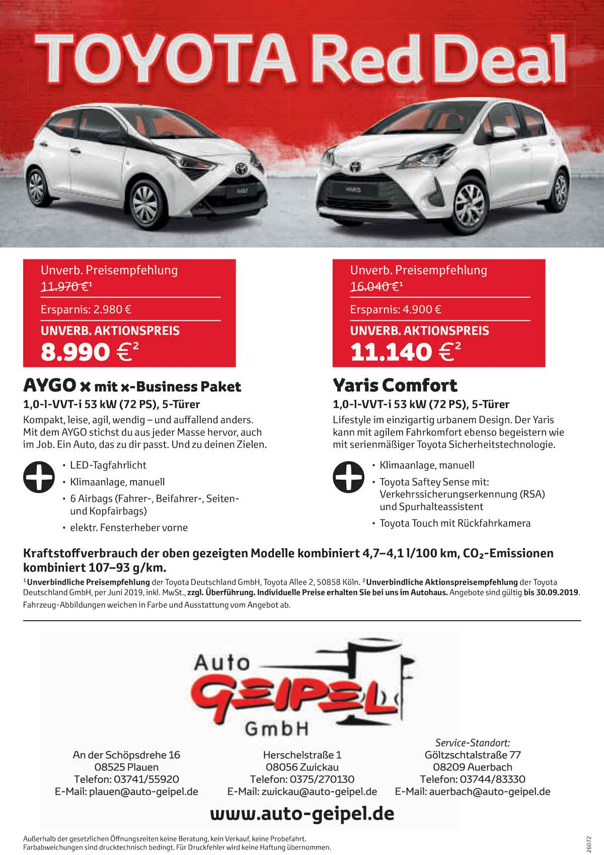 Toyota Red Deal Yaris Comfort 2019